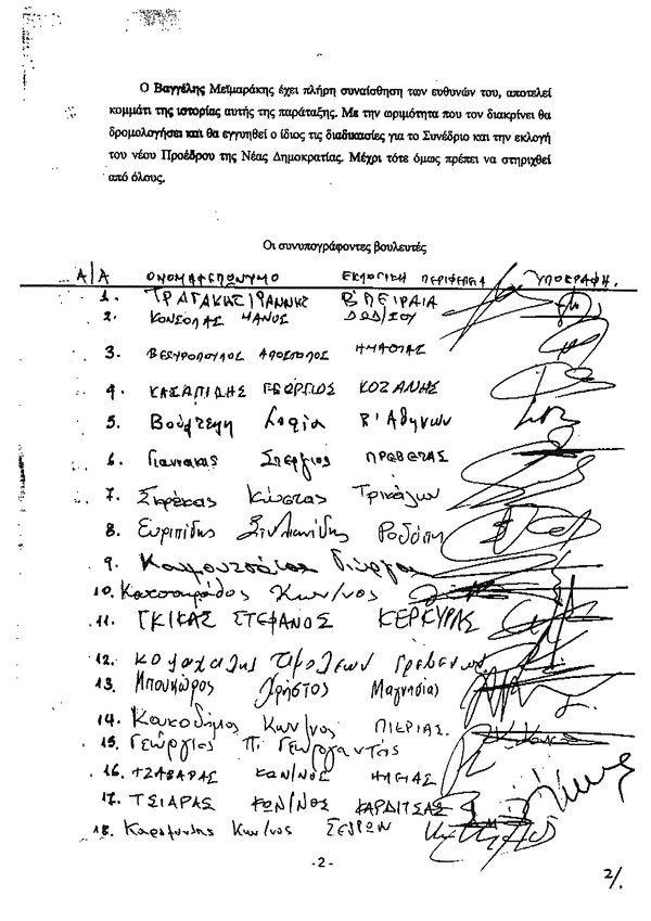 Το κείμενο των 58 βουλευτών υπέρ Μεϊμαράκη