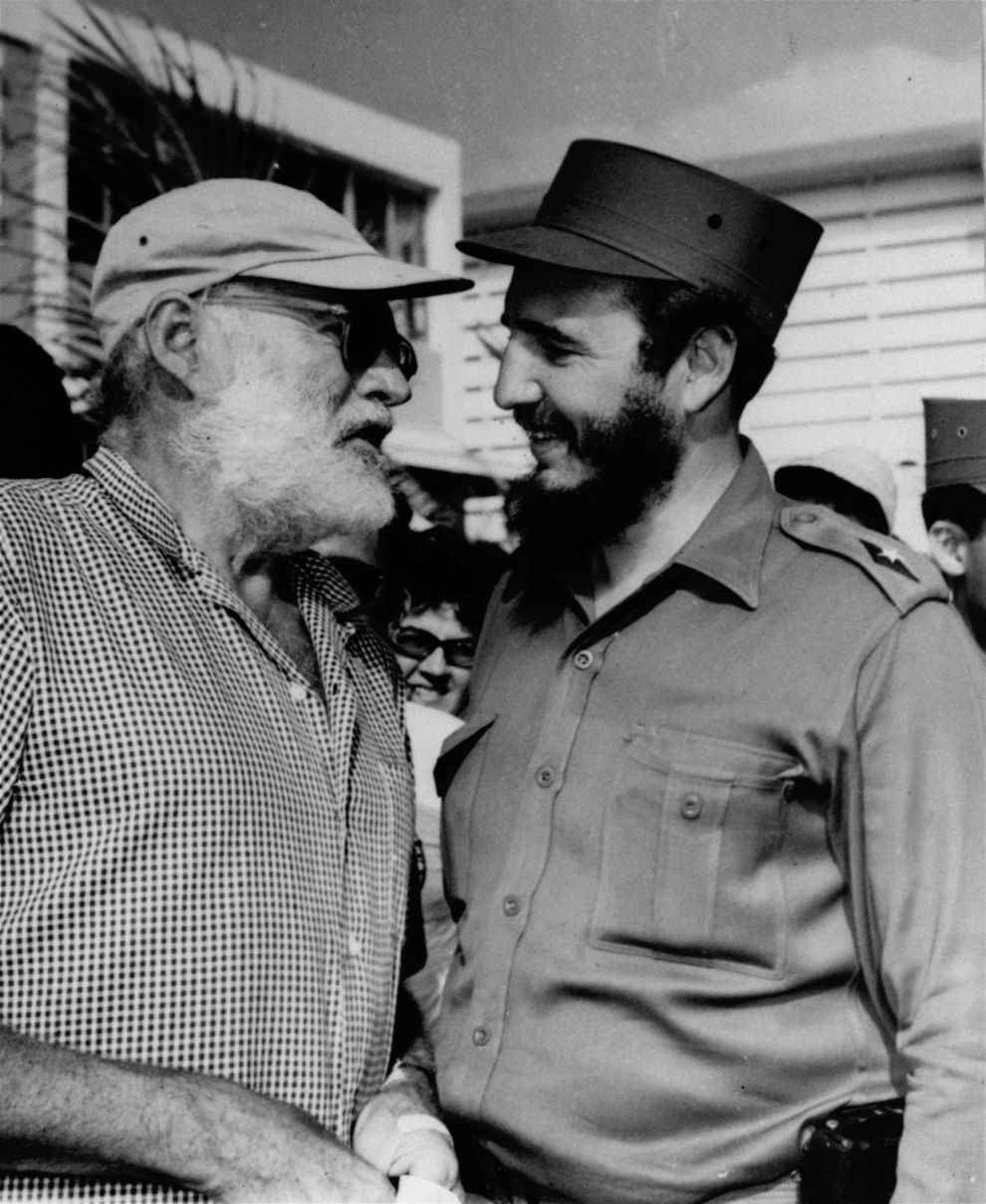 Ernest Hemingway and Cuban Prime Minister Fidel Castro exchange pleasantries at seaside after Castro won the individual championship in the annual Hemingway Anglers Tournament on May 15, 1960.  Castro caught five fish weighing 286 pounds to take the crown.  Hemingway had a bad day failing to land any. (AP Photo/str)