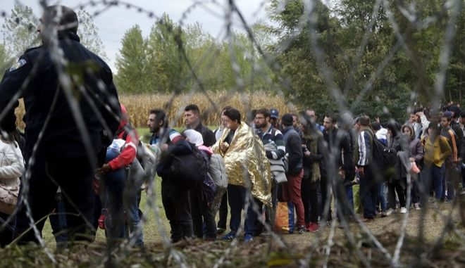 FILE - In this Saturday, Sept. 26, 2015 file photo, a group of migrants, seen through razor wire, crosses a border from Croatia near the village of Zakany, Hungary. Together, Hungary and the Czech Republic took in just around 1,000 asylum-seekers last year. Still, rallying cries against migration have dominated the debates ahead of upcoming ballots in the two Central European countries. Hungary is holding a government-sponsored referendum on Oct. 2 2016, seeking political support for the rejection of any future mandatory EU quotas to accept refugees. (AP Photo/Petr David Josek, file)