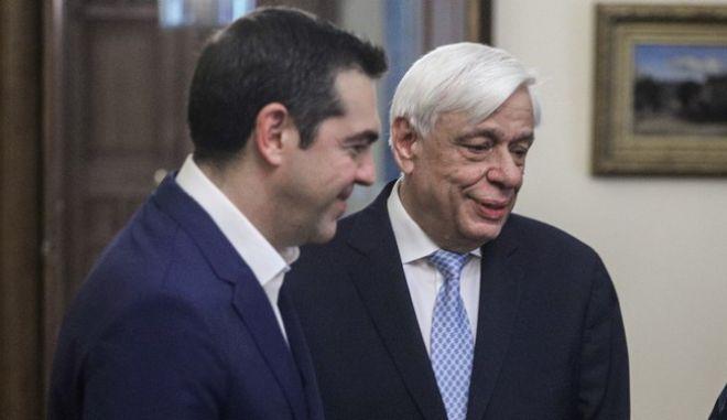 Ο Αλέξης Τσίπρας με τον Προέδρο της Δημοκρατίας Προκόπη Παυλόπουλο