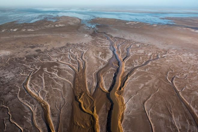 Aerial Images of the CO River Delta in Mexio with a high tide flowing up sections. Some hoped the 2014 historic pulse flow moving its way across the dry Colorado River Delta, part of a binational agreement for restoration, would reach the sea. Jury is still out.