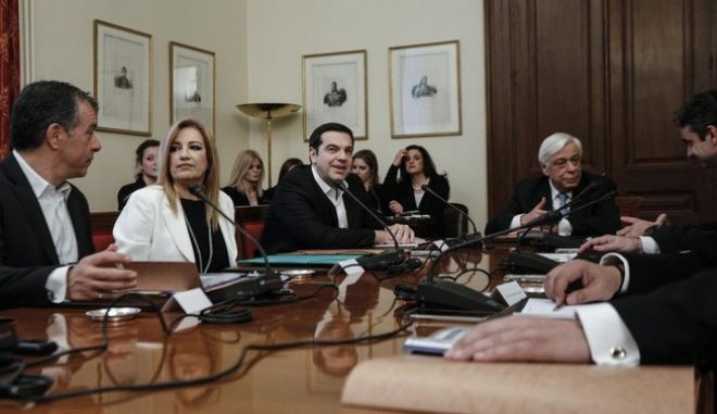 Meeting of the political party leaders of Greece, at the Presidential Mansion, in Athens, on March 4, 2016 /      ,   ,  ,  4 , 2016
