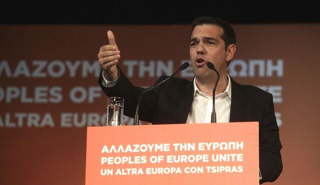 ΑΘΗΝΑ-Εκδήλωση της Πρωτοβουλίας Υποστήριξης της Υποψηφιότητας του Αλ. Τσίπρα για την Προεδρία της Ευρωπαϊκής Επιτροπής στο θέατρο Ακροπόλ με κεντρικό ομιλητή τον πρόεδρο του ΣΥΡΙΖΑ.(EUROKINISSI-ΓΕΩΡΓΙΑ ΠΑΝΑΓΟΠΟΥΛΟΥ)
