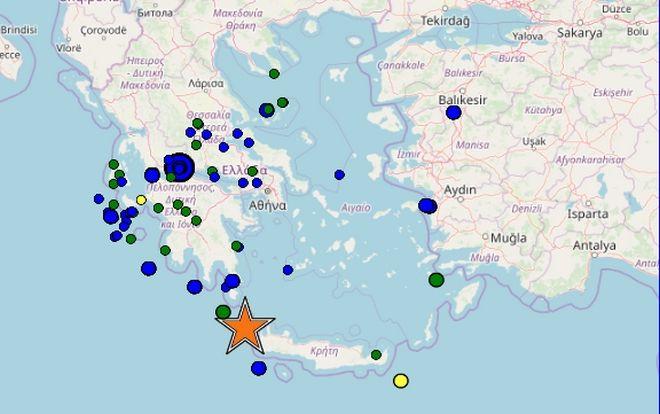 Σεισμός 6,1 Ρίχτερ μεταξύ Κρήτης και Κυθήρων - Αισθητός στην Αττική