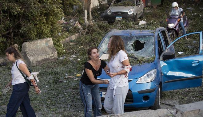 Τραυματίες απο την έκρηξη στη Βηρυτό.