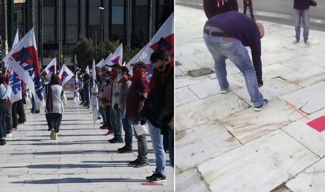 Πρωτομαγιά: Πορεία του ΠΑΜΕ με μάσκες και αυτοκόλλητα αποστάσεων