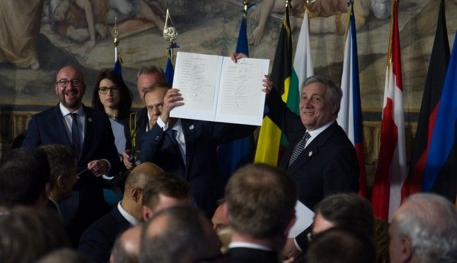 EU leaders gather in Rome on Saturday to celebrate the 60th anniversary of the EU's founding treaty on March 25, 2017/ 27           60        25 , 2017