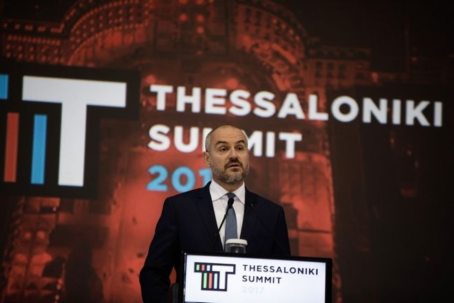 Greece's Prime Minister Alexis Tsipras delivers a speech at the second day of Thessaloniki Summit 2017, Thessaloniki, Greece on October 6, 2017. /        Thessaloniki Summit 2017, , 6  2017.