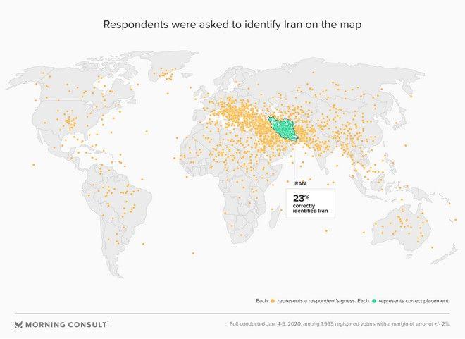 Έρευνα: Οι Αμερικανοί δεν ξέρουν πού βρίσκεται το Ιράν στον χάρτη