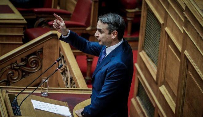 Ο πρόεδρος της ΝΔ, Κυριάκος Μητσοτάκης, κατά τη συζήτηση της Συμφωνίας των Πρεσπών