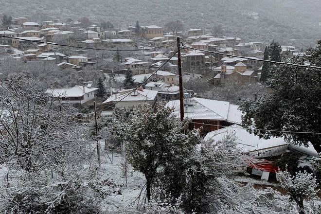 Η ''Ζηνοβία''  έφερε χιόνια στην Καρυά (Κολοκοτρωνίτσι), δήμος Άργους Μυκηνών, ορεινή Αργολίδα..