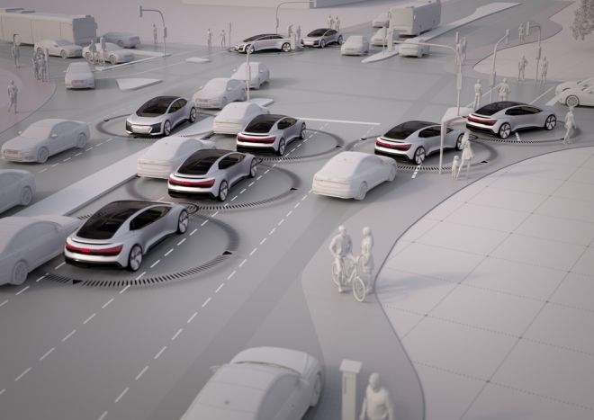 In the traffic model for Ingolstadt, the researchers investigated only one parameter in isolation, without taking account of changes in user behavior or increased demand: how many self-driving cars would be needed today to make the traffic flow noticeably better? At least 40 percent! Computers maintain the necessary distance to other vehicles, do not drive too fast, and obey all traffic signals. Journey times are noticeably cut only with an increasing number of autonomous cars: if the roads in Ingolstadt today were used only by autonomous vehicles, travel times would fall by one quarter.