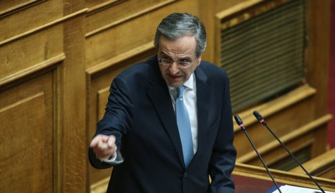 Discussion at the plenum of the Greek Parliament on the proposal by the Coalition government MP`s to form an investigate committee to look into the Novartis scandal. In Athens, on Feb. 21, 2018 /               . , 21 , 2018