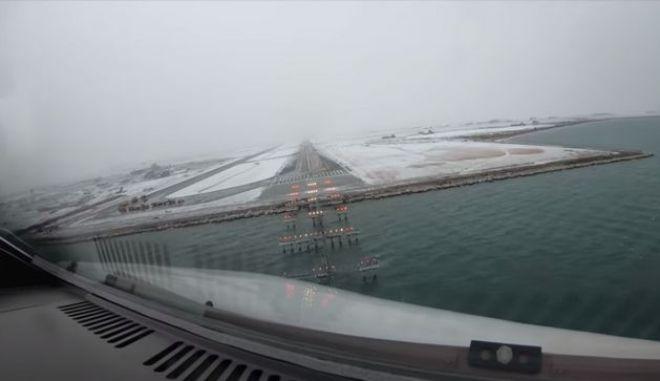 """Εκπληκτικό βίντεο: Η προσγείωση στο χιονισμένο """"Μακεδονία"""" μέσα από το πιλοτήριο"""