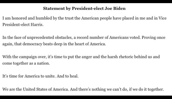 Τζο Μπάιντεν: Το πρώτο μήνυμα μετά τη νίκη του