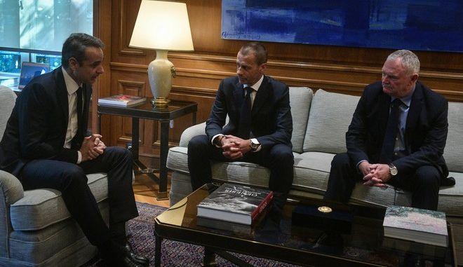 Συνάντηση του προέδρου της Uefa Αλεξάντερ Τσεφερίν με τον πρωθυπουργό Κυριάκο Μητσοτάκη