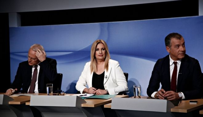 Ο Γιάννης Ραγκούσης, η Φώφη Γεννηματά και ο Σταύρος Θεοδωράκης κατά το debate για την εκλογή αρχηγού της κεντροαριστεράς