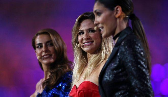 Οι τρεις παρουσιάστριες της Eurovision 2018, Kαταρίνα Φουρτάδο, Σίλβια Αλμπέρτο και Ντανιέλα Ρούα, από την Πορτογαλία