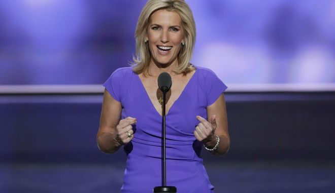 FILE - In this July 20, 2016 file photo, Conservative political commentator Laura Ingraham speaks during the third day of the Republican National Convention in Cleveland.  Ingrahams next book is a tribute to President Donald Trump, and a warning. The conservative commentators Billionaire at the Barricades: The Populist Revolution is the first major acquisition by the new All Points Books imprint at St. Martins Press. All Points, which will specialize in politics and current affairs, told The Associated Press on Friday, April 7, 2017,  that the book is scheduled for October 10.(AP Photo/J. Scott Applewhite, File)