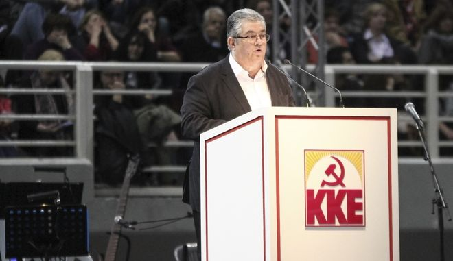 Στιγμιότυπο απο ομιλία του Γ.Γ. της Κ.Ε. Του ΚΚΕ Δημήτρη Κουτσούμπα.