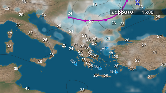 Πρόβλεψη καιρού στην Ελληνική επικράτεια για το Σάββατο