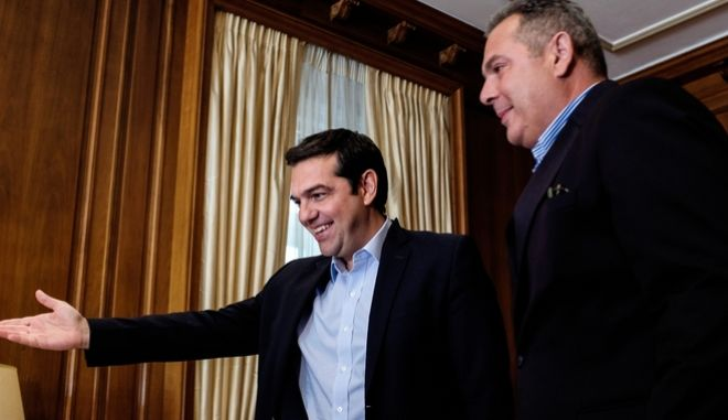 Meeting between the greek prime minister Alexis Tsipras and the leader of the Independent Greeks party Panos Kammenos, in Athens, on June 21, 2016 /             ,  ,  21  2016
