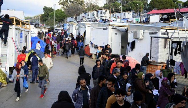 Πρόσφυγες και μετανάστες στη Μόρια τον Νοέμβριο του 2019