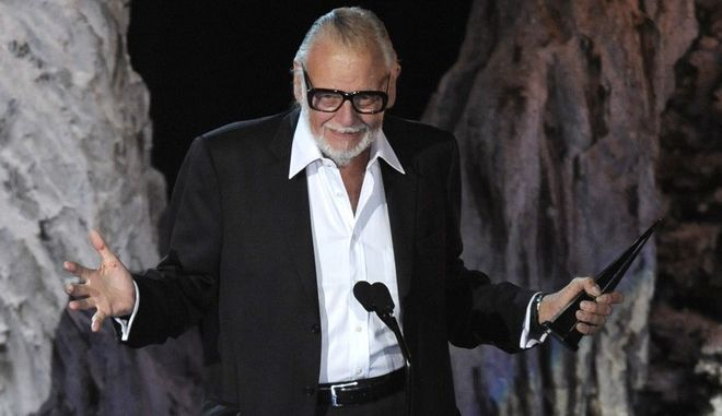 """George Romero accepts the Mastermind Award at the """"Scream Awards"""" on Saturday, Oct. 17, 2009, in Los Angeles. (AP Photo/Chris Pizzello)"""