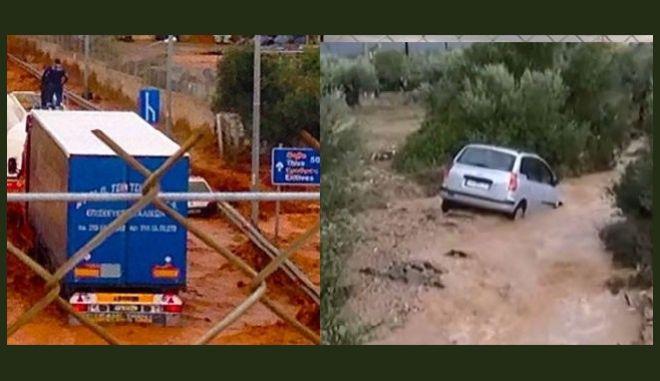 Νέα Πέραμος: Ανέβηκαν σε φορτηγά για να σωθούν από τα νερά