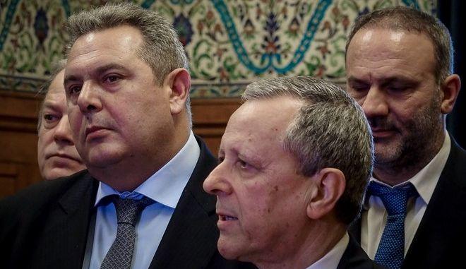 Συνάντηση του προέδρου των ΑΝΕΛ, Πάνου Καμμένου με τον Τάκη Μπαλτάκο