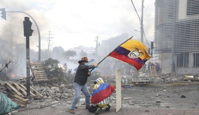 Εικόνα από τις αντικυβερνητικές διαδηλώσεις στον Ισημερινό