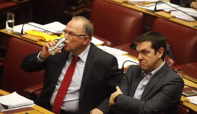 Βουλή- συζήτηση της πρότασης του ΣΥΡΙΖΑ για σύσταση εξεταστικής επιτροπής που θα διερευνήσει την υπόθεση των υποβρυχίων και των ναυπηγίων Σκαραμαγκά// ΣΤΗ ΦΩΤΟΓΡΑΦΙΑ  Ο ΠΡΟΕΔΡΟΣ ΤΟΥ ΣΥΡΙΖΑ ΑΛΕΞΗΣ ΤΣΙΠΡΑΣ ΚΑΙ Ο ΔΗΜΗΤΡΗΣ ΠΑΠΑΔΗΜΟΥΛΗΣ.(EUROKINISSI-ΓΙΩΡΓΟΣ ΚΟΝΤΑΡΙΝΗΣ)