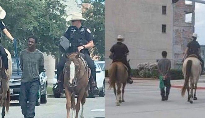 Δύο έφιπποι, λευκοί αστυνομικοί έδεσαν ένα σκοινί στις χειροπέδες άνδρα που και τον οδήγησαν πεζό στο αστυνομικό τμήμα