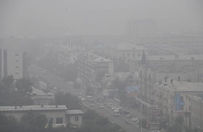 Καπνός στην πόλη της Σιβηρίας Chita