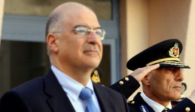 Στιγμιότυπο από την τελετή παράδοσης-ποαραλαβής του νέου Αρχηγού  της Πυροσβεστικής Βασίλη Παπαγεωργίου.Στην τελετή παραβρέθηκε ο Υπουργός Πρόστασίας του Πολίτη Νίκος Δένδιας,Πέμπτη 28 Νοεμβρίου 2013  (EUROKINISSI-ΤΑΤΙΑΝΑ ΜΠΟΛΑΡΗ)