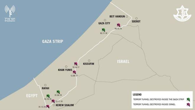 Χάρτης επιδρομών του ισραηλινού στρατού