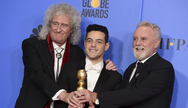 Ο Rami Malek με τους Brian May και Roger Taylor των Queen