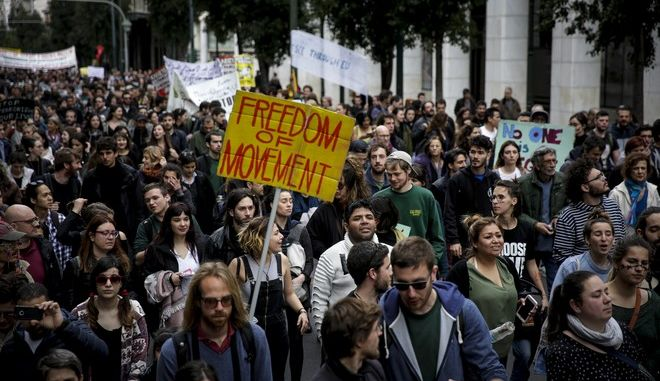 Αντιρατσιστικό - αντιφασιστικό συλλαλητήριο από μέλη της Κίνησης Ενάντια στον ρατσισμό και τη φασιστική απειλή (ΚΕΕΡΦΑ) το Σάββατο 17 Μαρτίου 2018, στην Ομόνοια, με αφορμή την Παγκόσμια ημέρα δράσης κατά του φασισμού και του ρατσισμού. (EUROKINISSI/ΣΤΕΛΙΟΣ ΜΙΣΙΝΑΣ)