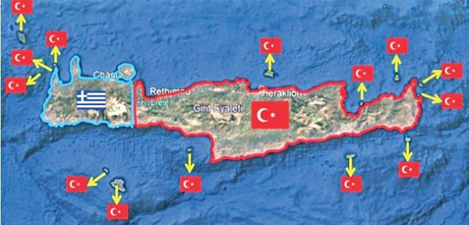 O χάρτης που κυκλοφορεί στην Τουρκία, με την Κρήτη τουρκική
