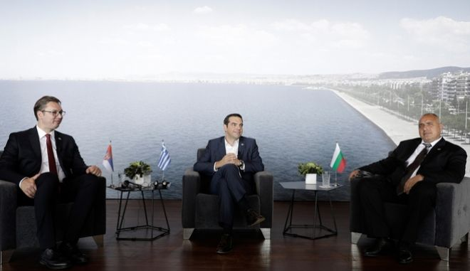 Trilateral Greece  Serbia  Bulgaria with the participation of the Greek Prime Minister Alexis Tsipras, the Serbian President Aleksandar Vui and the Bulgarian Prime Minister Boyko Borisov, in Thessaloniki, Greece on July 13, 2017. /    -        ,           ,  ,   13  2017.