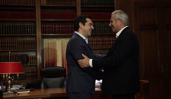 Συνάντηση τουπρωθυπουργού Αλέξη Τσίπρα με τον Γενικό Γραμματέα του ΑΚΕΛ Άντρο Κυπριανού την Παρασκευή 14 Οκτωβρίου 2016. (EUROKINISSI/ΓΙΑΝΝΗΣ ΠΑΝΑΓΟΠΟΥΛΟΣ)
