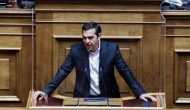 Ο πρόεδρος του ΣΥΡΙΖΑ-Προοδευτική Συμμαχία, Αλέξης Τσίπρας, στο βήμα της Βουλής