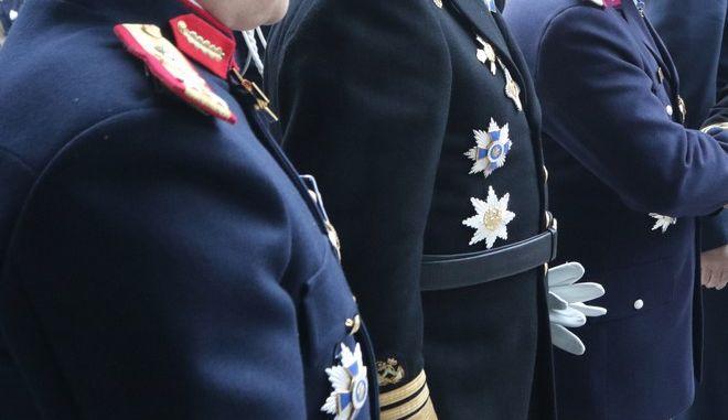 Στιγμιότυπο από εκδήλωση με τους αρχηγούς των Ενόπλων Δυνάμεων