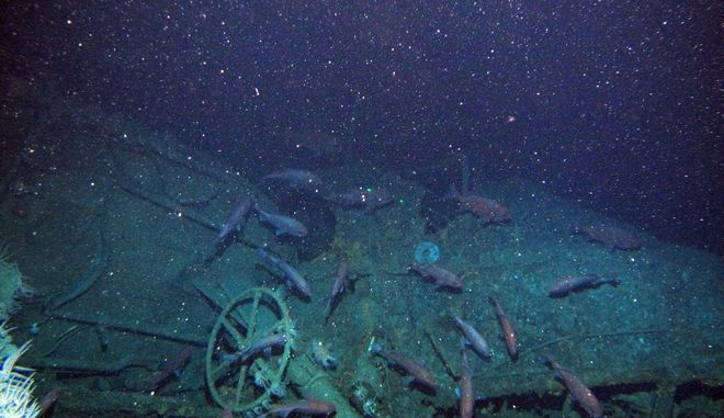 In this undated image provided by the Australian Department of Defense fish swim around the helm of the Australian submarine HMAS AE1 off the coast of the Papua New Guinea island of New Britain. One of Australia's oldest naval mysteries has been solved after the discovery of the wreck of the country's first submarine more than 103 years after its disappearance in World War I. (Australian Department of Defense via AP)