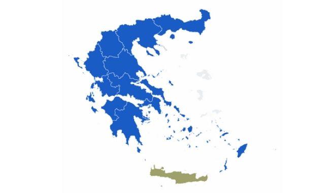 Αποτελέσματα περιφερειακών εκλογών 2019: Ο χάρτης της Ελλάδας στο 97% της ενσωμάτωσης