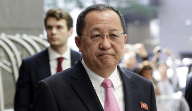 FILE - In this Sept. 25, 2017 file photo, North Korea's Foreign Minister Ri Yong Ho speaks outside the U.N. Plaza Hotel, in New York. Military analysts say North Korea doesn't have either the capability or the intent to attack U.S. bombers and fighter jets, despite the country's top diplomat saying it has every right do so. They view the remark by North Korean Foreign Minister Ri Yong Ho and a recent propaganda video simulating such an attack as tit-for-tat responses to fiery rhetoric by U.S. President Donald Trump and his hardening stance against the North's nuclear weapons program. (AP Photo/Richard Drew, File)