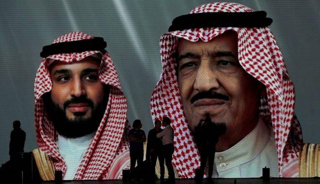 Ο βασιλιάς της Σαουδικής Αραβίας Σαλμάν κι ο γιός του, Μοχάμεντ
