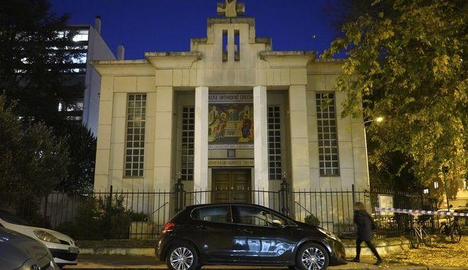 Εικόνα από την εκκλησία στη Λυών όπου δέχτηκε πυρά ο Έλληνας ιερέας
