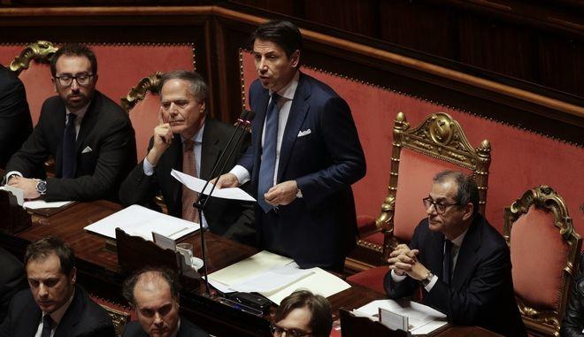 Ο Ιταλός πρωθυπουργός Τζουζέπε Κόντε σε συνεδρίαση της Γερουσίας για τον προϋπολογισμό