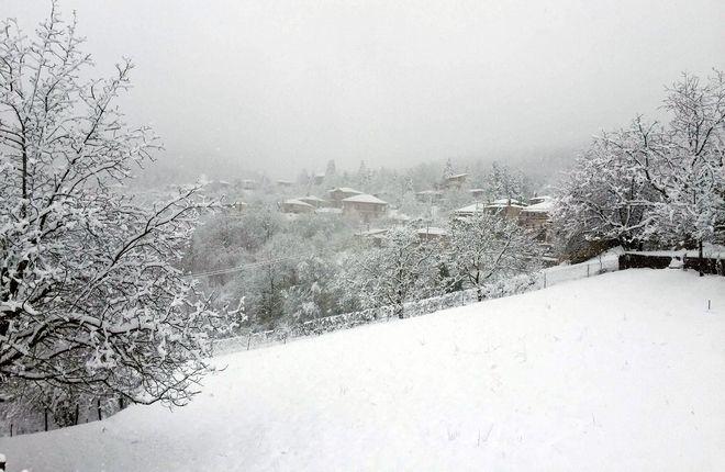 Σκεπασε τα παντα στο Νεοχωρι Καρδιτσας το χιονι που επεφτε συνεχως εδω και δυο μερες καθως και στην λιμνη Πλαστηρα  ΦΩΤΟ /ΓΙΩΡΓΟΣ ΑΜΒΡΟΣΙΟΥ//